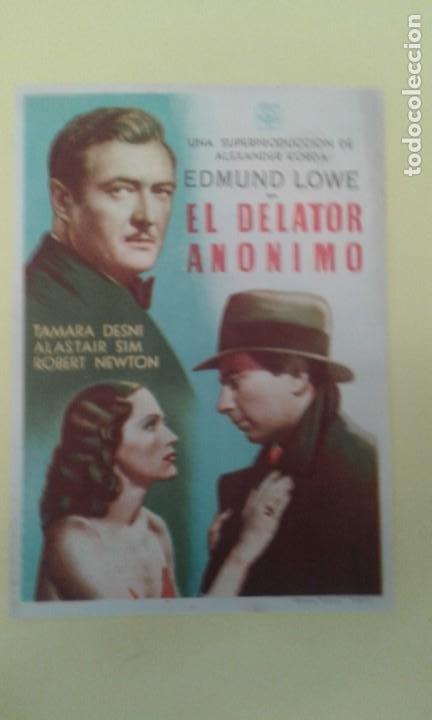 EL DELATOR ANONIMO EDMUND LOWE FOLLETO ORIGINAL BUEN ESTADO S.P. (Cine - Folletos de Mano - Suspense)
