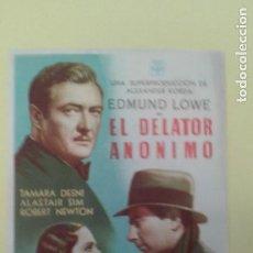 Cine: EL DELATOR ANONIMO EDMUND LOWE FOLLETO ORIGINAL BUEN ESTADO S.P.. Lote 225958915