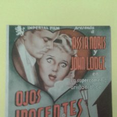 Cine: OJOS INOCENTES ASSIA NORIS JOHN LODGE FOLLETO ORIGINAL DOBLE C.P FIGARO. BUEN ESTADO. Lote 225959825