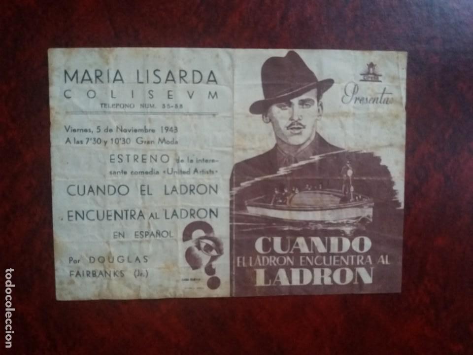 CUANDO EL LADRÓN ENCUENTRA AL LADRÓN CON PUBLICIDAD MARÍA LISARDA COLISEUM SANTANDER (Cine - Folletos de Mano - Drama)