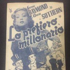 Cine: LO PREFIERO MILLONARIO - PROGRAMA DOBLE - REVERSO TEATRO CHAPÍ (CREVILLENTE). Lote 226096888