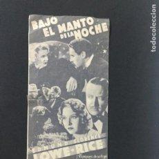 Cine: BAJO EL MANTO DE LA NOCHE - PROGRAMA DOBLE - REVERSO CENTRAL CINEMA Y CENTRAL AZUL. Lote 226306325