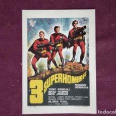 Folhetos de mão de filmes antigos de cinema: FOLLETO O PROGRAMA DE MANO DE CINE VINTAGE, 3 SUPERHOMBRES, 1968. Lote 226502975