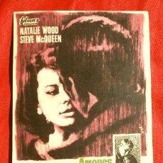 Foglietti di film di film antichi di cinema: AMORES CON UN EXTRAÑO (FILM USA 1963) FOLLETO DE MANO - CINE PICAROL (BADALONA) NATALIE WOOD, QUEEN. Lote 296808603