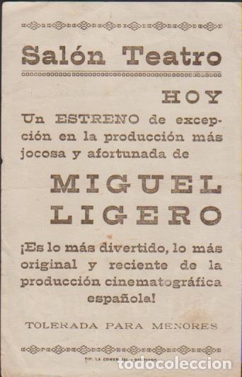 Cine: folleto mano cine con publicidad LA LUNA VALE UN MILLON - MIGUEL LIGERO FABREGAS PALACIOS REY - Foto 2 - 226690080