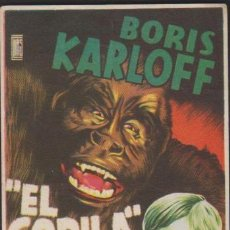 Flyers Publicitaires de films Anciens: FOLLETO MANO CINE CON PUBLICIDAD EL GORILA - BORIS KARLOFF WILLIAM NIGH. Lote 226693010