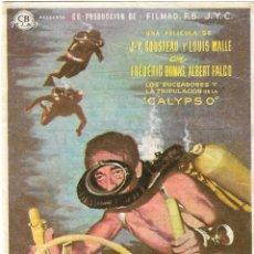 Cine: PN - PROGRAMA DE CINE - EL MUNDO DEL SILENCIO - COMANDANTE COUSTEAU - CINE PLUS ULTRA (MÁLAGA) 1956. Lote 226791825