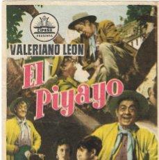 Folhetos de mão de filmes antigos de cinema: PN - PROGRAMA DE CINE - EL PIYAYO - VALERIANO LEÓN, ANTONIO MOLINA - ALIATAR CINEMA (GRANADA) - 1956. Lote 226993200