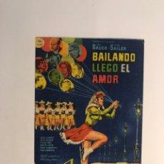 Cine: CANET DE MAR, CINE ODEON, FOLLETO DE MANO. BAILANDO LLEGO EL AMOR, MUSICAL (H.1960?). Lote 295705373