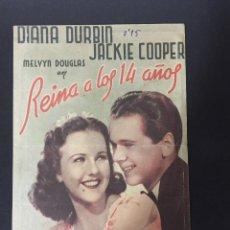 Cine: REINA A LOS 14 AÑOS - PROGRAMA DOBLE - REVERSO TEATRO CALDERÓN. Lote 227593295