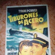 Cine: PROGRAMA DE CINE.FOLLETO DE MANO.TIBURONES DE ACERO.SENCILLO SIN PUBLICIDAD. Lote 227889100