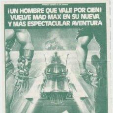 Cine: MAD MAX 2, EL GUERRERO DE LA CARRETERA (CON PUBLICIDAD). Lote 228057245