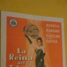 Cine: ANTIGUO FOLLETO DE MANO.LA REINA DEL TABARIN.MIKALELA.1960.CINE ALCAZABA-CINE TRAJANO.MERIDA. Lote 228061905
