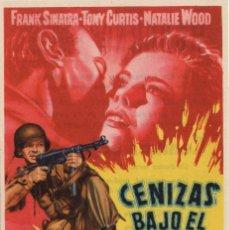 Cine: FOLLETO DE MANO - CENIZAS BAJO EL SOL - FRANK INATRA / TONY CURTIS CINE MODERNO - TARRAGONA AÑO 1960. Lote 228130245