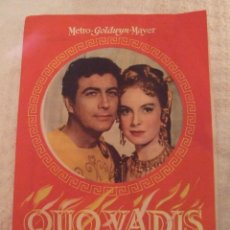 Cine: QUO VADIS - DOBLE TROQUELADO CON PUBLICIDAD JARDINES CINE RIACHO ORIHUELA - PERFECTO. Lote 228198335