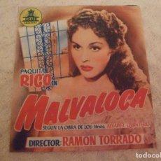 Cine: MALVALOCA - DOBLE CON PUBLICIDAD CINE MODERNO LA UNION - PERFECTO. Lote 228199870