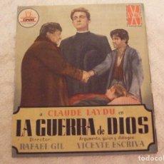 Cine: LA GUERRA DE DIOS - DOBLE CON PUBLICIDAD CINE REX CASTELLON - PERFECTO. Lote 228204750