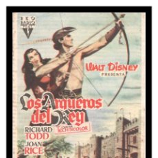 Cine: FOLLETO DE MANO, LOS ARQUEROS DEL REY, RICHARD TODD Y JOAN RICE.. Lote 228205270