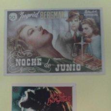 Cine: NOCHE DE JUNIO INGRID BERGMAN 2 FOLLETOS ORIGINALES 1C.P 1S.P.. Lote 228290385