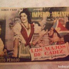 Cine: LOS MAJOS DE CADIZ - SECILLO CON PUBLICIDAD CINE MODERNO LA UNION - DOBLEZ Y MARCAS LEVES. Lote 228339065
