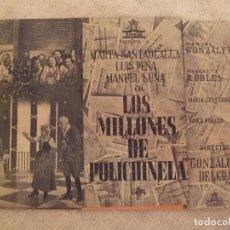 Cine: LOS MILLONES DE POLICHINELA - DOBLE CON PUBLICIDAD CINE VICTORIA - PERFECTO. Lote 228346920
