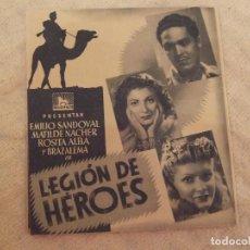 Cine: LEGION DE HEROES - DOBLE CON PUBLICIDAD CINE CENTRO - PERFECTO. Lote 228347310