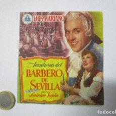 Cine: EL BARBERO DE SEVILLA FOLLETO CINE MANO ANTIGUO, COTIZADOS, MUCHOS A SUBASTA DESDE 1€. Lote 228664215