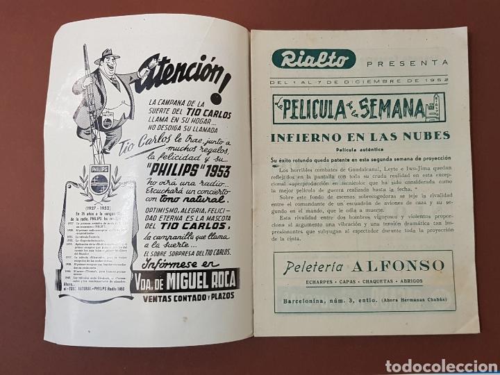 Cine: INFIERNO EN LA NUBES - CINES RIALTO - PROGRAMA CINE - FOLLETO DE MANO - AÑO 1952 - Foto 2 - 229118325