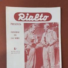 Cine: INFIERNO EN LA NUBES - CINES RIALTO - PROGRAMA CINE - FOLLETO DE MANO - AÑO 1952. Lote 229118325