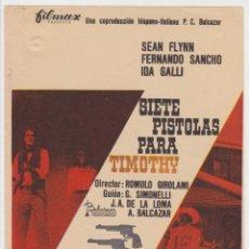 Flyers Publicitaires de films Anciens: SIETE PISTOLAS PARA TIMOTHY. Lote 229267370
