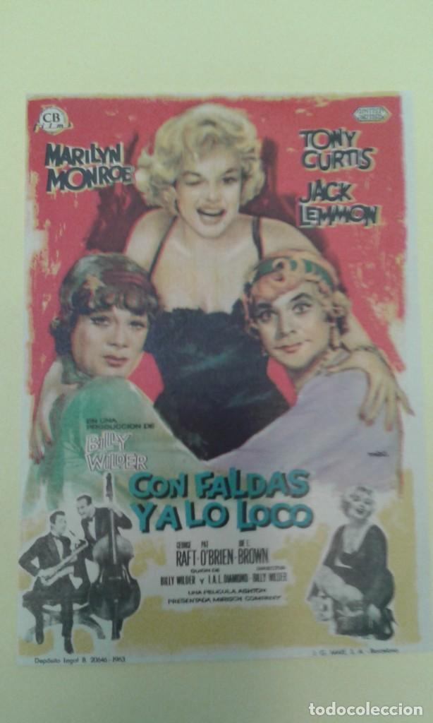 CON FALDAS Y A LO LOCO MARILYN MONROE ORIGINAL S.P. BUEN ESTADO (Cine - Folletos de Mano - Comedia)