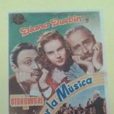 Cine: LOCA POR LA MUSICA DIANA DURBIN ORIGINAL C.P. TEATRO BENAVENTE BUEN ESTADO. Lote 229732035
