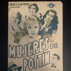 Folhetos de mão de filmes antigos de cinema: PROGRAMA, FOLLETO MUJERES DE POSTIN, CARLOS LAEMMLE, JUNE KNIGHT, NEIL HAMILTON. Lote 229839755