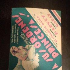 Folhetos de mão de filmes antigos de cinema: PROGRAMA A SUS ORDENES PRINCESA, LILIAN HARVEY, HENRY GARAT. Lote 230788045