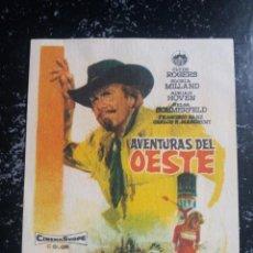 Folhetos de mão de filmes antigos de cinema: AVENTURAS DEL OESTE. Lote 232151480