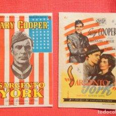 Flyers Publicitaires de films Anciens: SARGENTO YORK, 2 IMPECABLES SENCILLOS, GARY COOPER, C/PUBLI LOS 2 1947/65. Lote 232196060