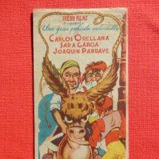 Folhetos de mão de filmes antigos de cinema: EN UN BURRO TRES BATURROS, SENCILLO, CARLOS ORELLANA, C/PUBLI CINE COLISEUM 1941. Lote 232866550