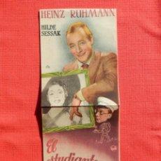 Flyers Publicitaires de films Anciens: EL ESTUDIANTE NOVATO, GRANDE, EXCTE. ESTADO. HEINZ RUHMANN, C/PUBLI MONTERROSA 1946. Lote 232867695