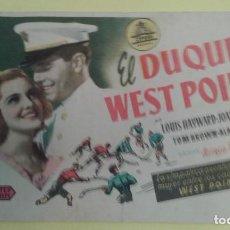Cine: EL DUQUE DE WEST POINT LOUIS HAYWARD ORIGINAL C.P. CINE SAGALES MOLLET. Lote 232916950