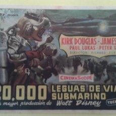 Cine: 20000 LEGUAS DE VIAJE SUBMARINO KIRK DOUGLAS ORIGINAL C.P. TEATRO PRINCIPAL MAHON. Lote 232917481
