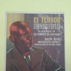 Cine: EL TERROR INVISIBLE 1ª JORNADA DE LOS CRIMENES DEL FANTASMA ORIGINAL S.P.. Lote 233179360