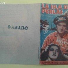Cine: LA ISLA DE LAS PERLAS GEORGE HOUSTON ORIGINAL DOBLE CON SELLO. Lote 233238910