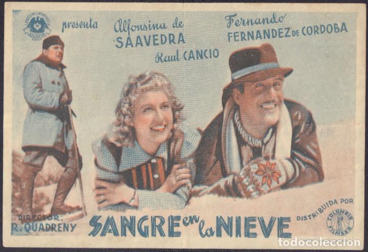 PROGRAMA SENCILLO DE SANGRE EN LA NIEVE (1942) - ROYAL CINEMA DE PICASSENT (Cine - Folletos de Mano - Clásico Español)