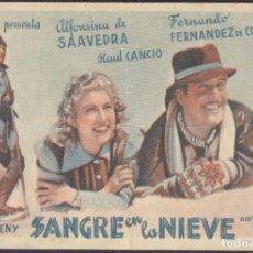 Flyers Publicitaires de films Anciens: PROGRAMA SENCILLO DE SANGRE EN LA NIEVE (1942) - ROYAL CINEMA DE PICASSENT. Lote 233371930