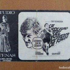 Cine: PROGRAMA DE CINE LOCAL - LA SOLEDAD DEL CORREDOR DE FONDO - STUDIO ATENAS, BARCELONA. AÑO 1968. Lote 233423935