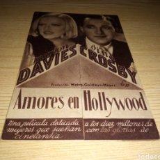 Cine: ANTIGUO PROGRAMA DE CINE CARTÓN. AMORES EN HOLLYWOOD. AÑOS 30.. Lote 233428770