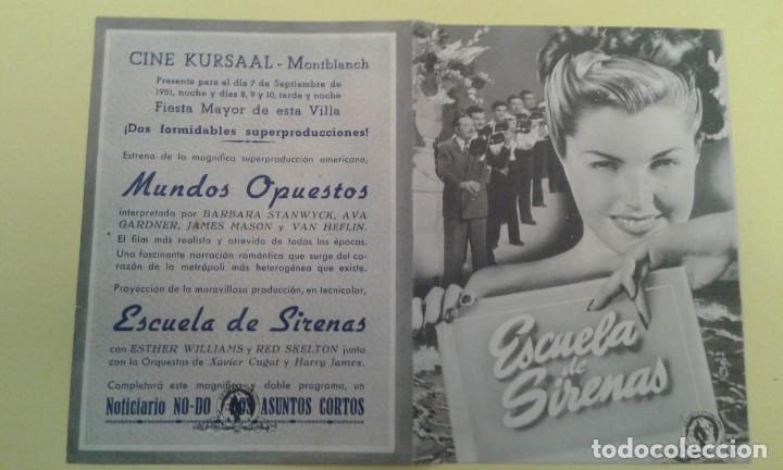 ESCUELA DE SIRENAS ESTHER WILLIAMS ORIGINAL DOBLE C.P. CINE KURSAAL MONTBLANCH BUEN ESTADO (Cine - Folletos de Mano - Musicales)