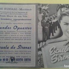 Cine: ESCUELA DE SIRENAS ESTHER WILLIAMS ORIGINAL DOBLE C.P. CINE KURSAAL MONTBLANCH BUEN ESTADO. Lote 233488570