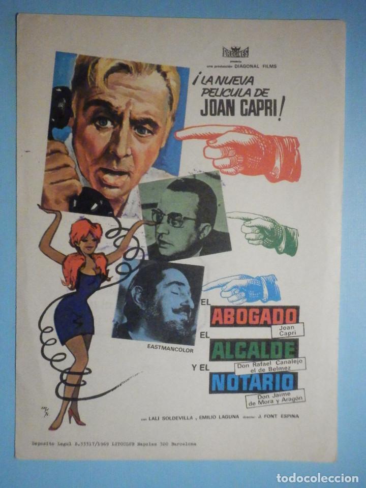FOLLETO DE MANO - CINE , PELÍCULA, FILM - EL ABOGADO, EL ALCALDE Y EL NOTARIO (Cine - Folletos de Mano - Drama)