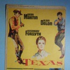 Cine: FOLLETO DE MANO - CINE , PELÍCULA, FILM - TEXAS - DEAN MARTIN, ALAIN DELÓN. Lote 233598190